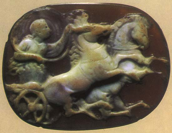 Aurora on her chariot. Sardonyx. 1st century BCE — 1st century CE. 2.2 × 2.8 cm. Inv. No Ж 11. Saint Petersburg, The State Hermitage Museum