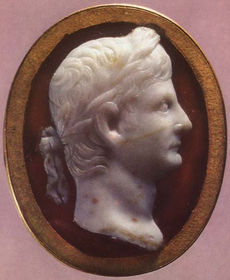 Tiberius. Sardonyx. Early 1st century. 3.4 × 2.7 cm. Inv. No. Ж 269. Saint Petersburg, The State Hermitage Museum