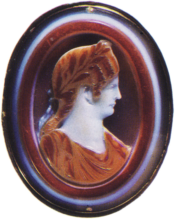 Agrippina the Younger, the daughter of Germanicus. Sardonyx. Early 1st century. 4.4 × 3.5 cm. Inv. No Ж 335. Saint Petersburg, The State Hermitage Museum