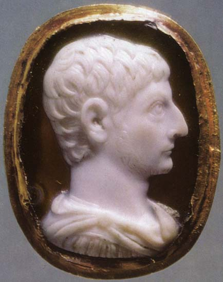 Drusus the Younger, the son of Tiberius. Sardonyx. Twenties of the 1st century. 2.2 × 1.6 cm. Inv. No П 1879, 24. Saint Petersburg, The State Hermitage Museum