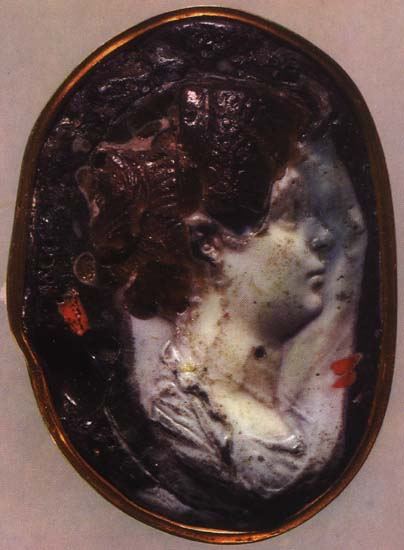 Julia, the daughter of emperor Titus. Glass paste. Late 1st century. 5.6 × 4 cm. Inv. No Ж 344. Saint Petersburg, The State Hermitage Museum