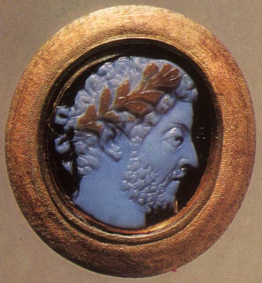 Commodus. Sardonyx. Late 2nd century. 1.8 × 1.6 cm. On the reverse is a cabbalistic inscription with the names of Moses, Joseph, Michael, Shinshiel and Horuel. Inv. No. Ж 341. Saint Petersburg, The State Hermitage Museum