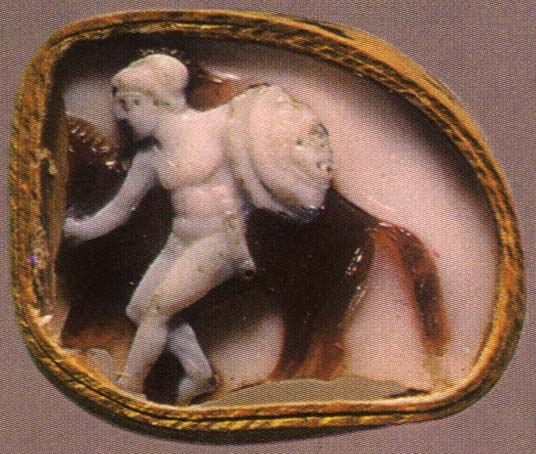 Warrior with a horse. Sardonyx. 1st—2nd centuries. 1.5 × 1.8 cm. Inv. No Ж 53. Saint Petersburg, The State Hermitage Museum