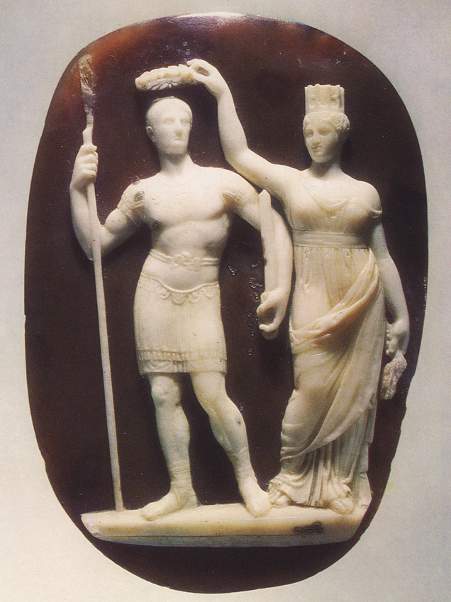 Constantine the Great and Tyche of Constantinople. Sardonyx. Thirties of the 4th century. Reworked in the early 19th century by the master Benedetto Pistrucci.  Inv. No Ж 146. Saint Petersburg, The State Hermitage Museum