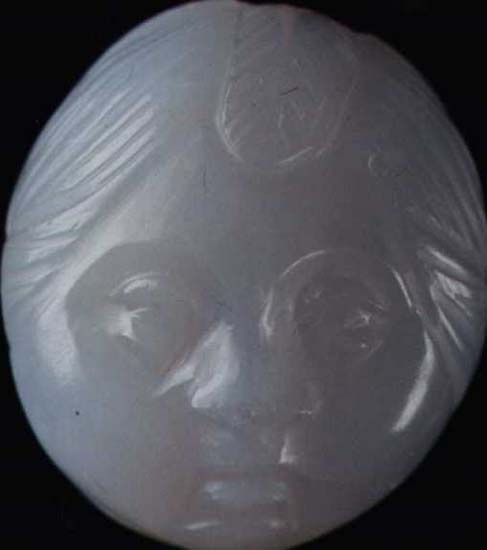 Head of Amor. Bluish grey chalcedony. 1st century CE.  Inv. No. 13917. Perm, the Perm Regional Museum of Local Lore