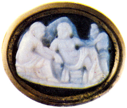 Bacchus and Ariadne. Two-layered onyx. Roman, 1st century CE. 1.4 × 1.9 cm. Saint Petersburg, The State Hermitage Museum