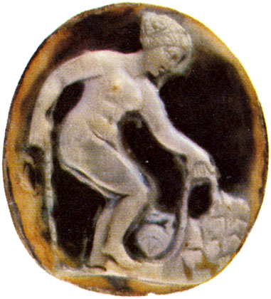 Bather. Sardonyx. Roman, 1st century CE. 1.9 × 1.7 cm. Saint Petersburg, The State Hermitage Museum