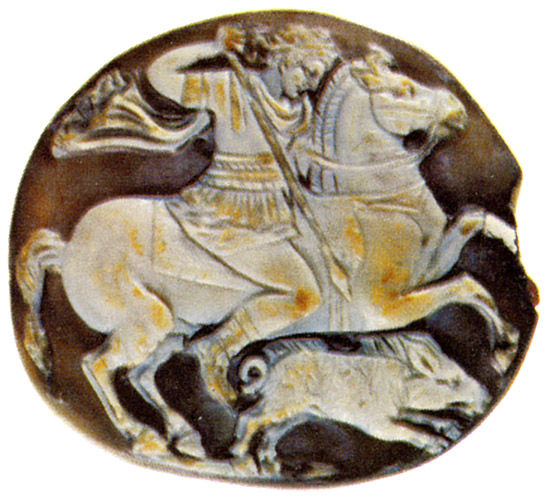 Alexander at the hunt. Sardonyx. Roman, 1st century CE. 2.0 × 2.2 cm. Saint Petersburg, The State Hermitage Museum