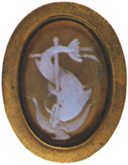 Dolphin and anchor. Two-layered onyx. Roman, 1st century CE. 1.5 × 2.1 cm. Saint Petersburg, The State Hermitage Museum