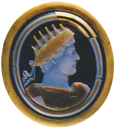 Commodus. Three-layered sardonyx. Roman, 2nd century. 6.1 × 5.3 cm. Saint Petersburg, The State Hermitage Museum