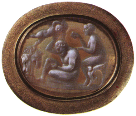 Heracles and Omphale. Sardonyx. Alexandria. 1st century BCE. 1.8 × 1.9 cm. Saint Petersburg, The State Hermitage Museum