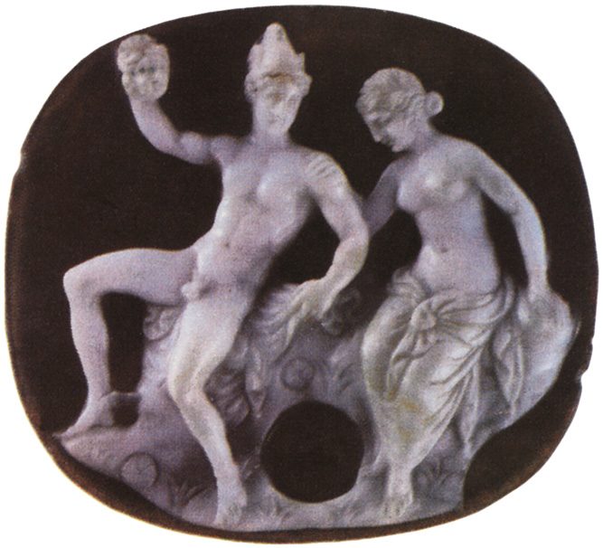 Perseus and Andromeda. Two-layered onyx. Alexandria. 1st century BCE.  Saint Petersburg, The State Hermitage Museum