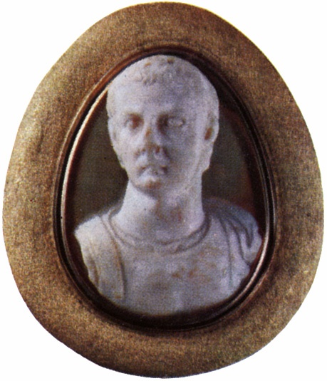 Tiberius. Two-layered onyx. Rome. 1st century. 2.7 × 2.1 cm. Saint Petersburg, The State Hermitage Museum