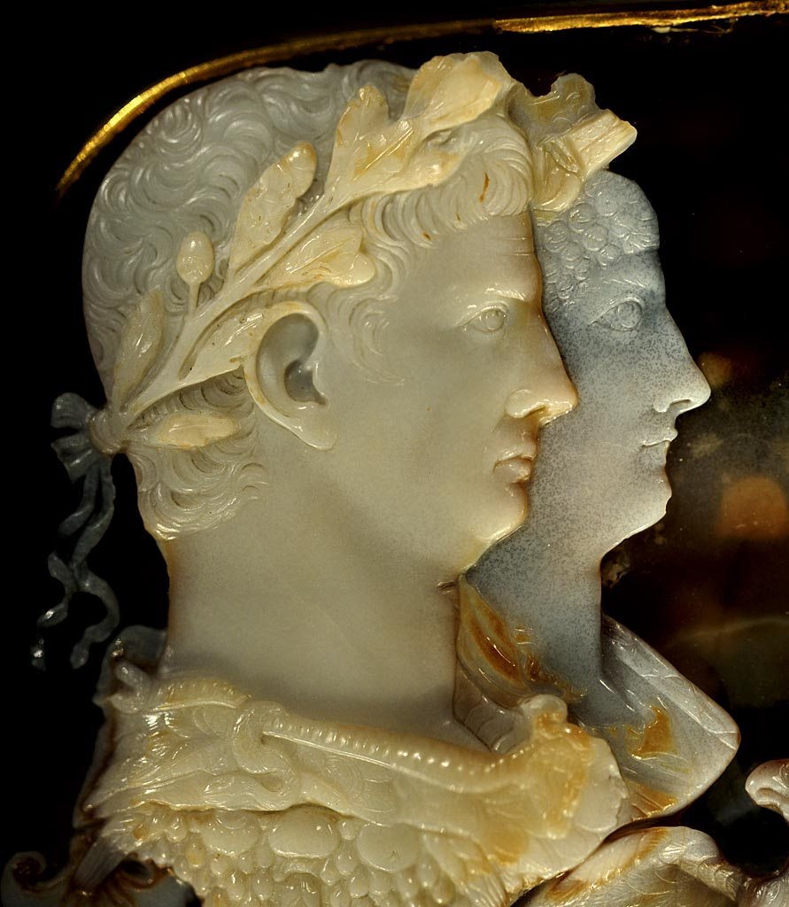 """Gemma Claudia."" Claudius and Agrippina the Younger (detail). Five-layered onyx; setting: gold band. Ca. 49 CE. Inv. No. IXa 63. Vienna, Museum of Art History"