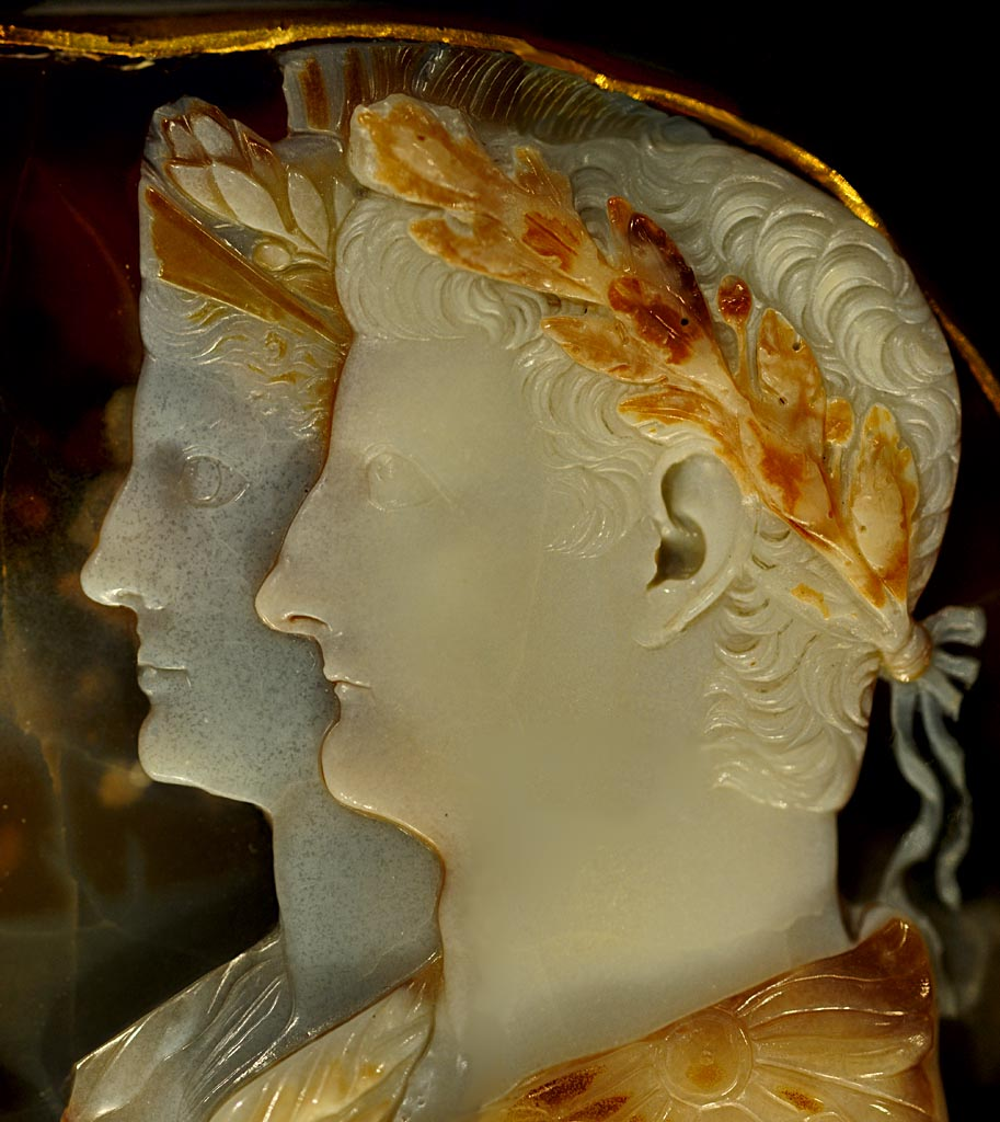 """Gemma Claudia."" Germanicus Julius Caesar and Agrippina the Elder (detail). Five-layered onyx; setting: gold band. Ca. 49 CE. Inv. No. IXa 63. Vienna, Museum of Art History"