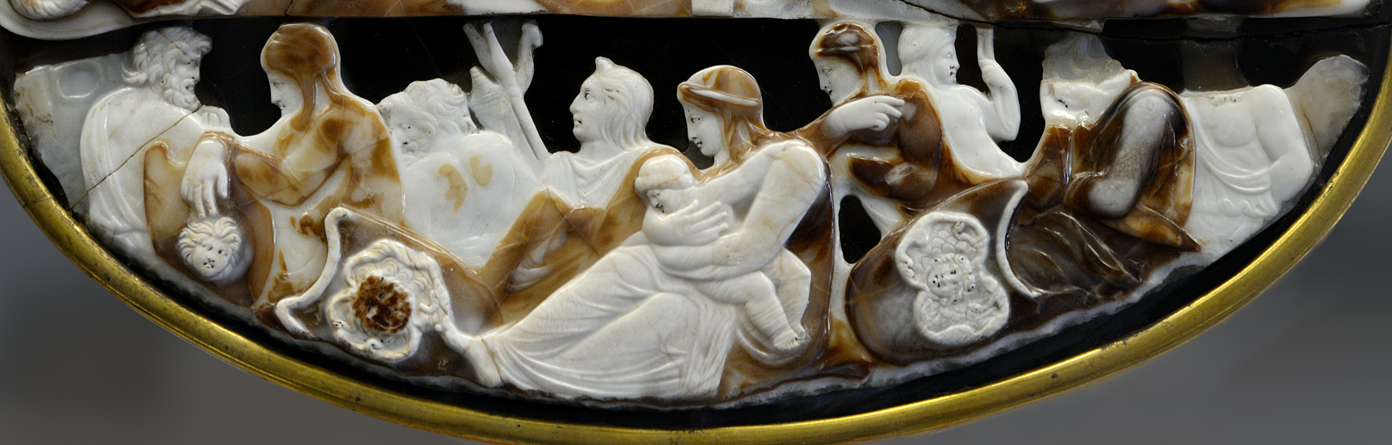 """Cameo of Tiberius"" (so-called ""Great Cameo of France""). The lower register. Five-layered sardonyx. Ca. 23 CE. Inv. No. Camee. 264. Paris, National Library, Cabinet des Médailles"