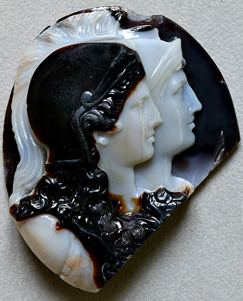 "Cameo ""Two Agrippinae represented as Minervae"". Sardonyx. Rome, 1st cent. CE. Inv. No. Camee. 226. Paris, National Library, Cabinet des Médailles"