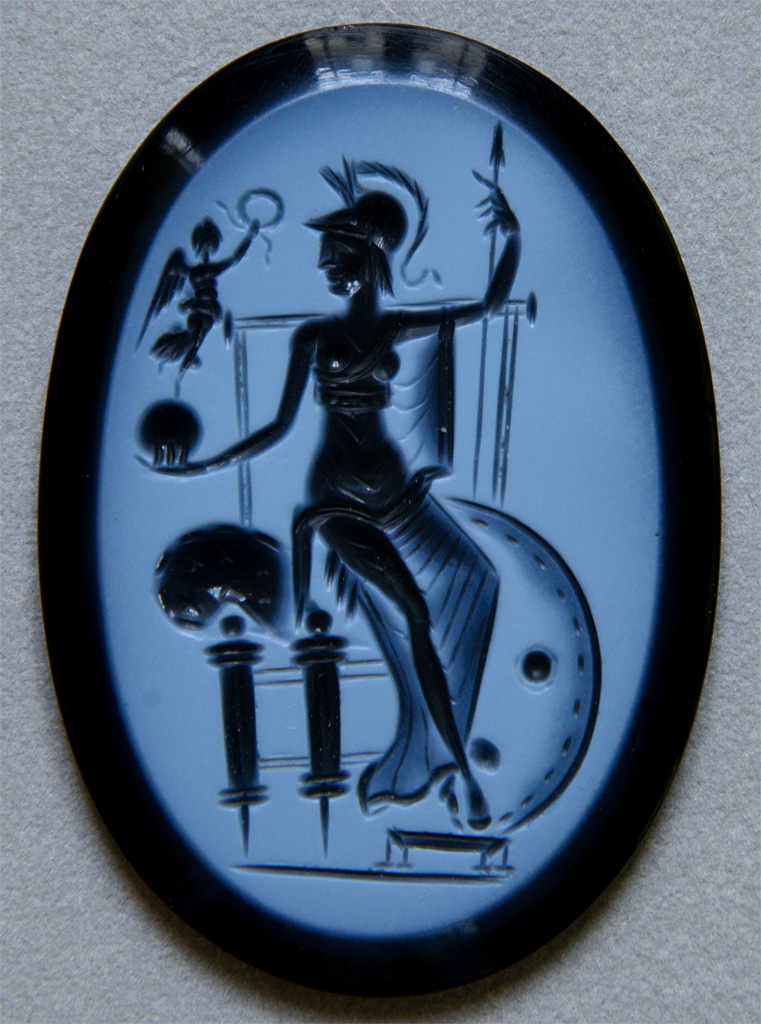 """Intaglio """"Goddess Roma holding Victory"""". Onyx nicolo. Rome, ca. 330 CE. Paris, National Library, Cabinet des Médailles"""