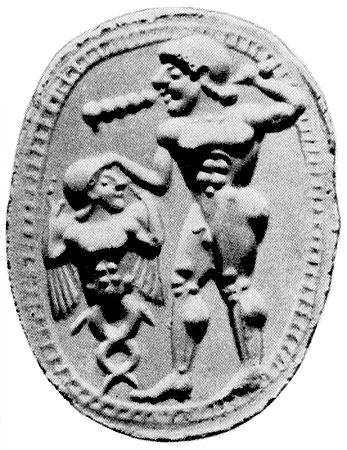 Heracles with a monster. Gemma. Cornelian. 5th century BCE. 1.4 × 1.1 cm. Saint Petersburg, The State Hermitage Museum