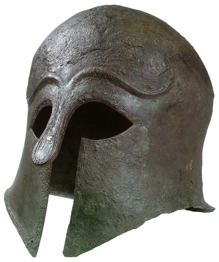 Helmet of the Corinthian type. Bronze, dark green. Second quarter of the 6th century BCE. Height 28 cm. Inv. No. Б. 578. Saint Petersburg, The State Hermitage Museum
