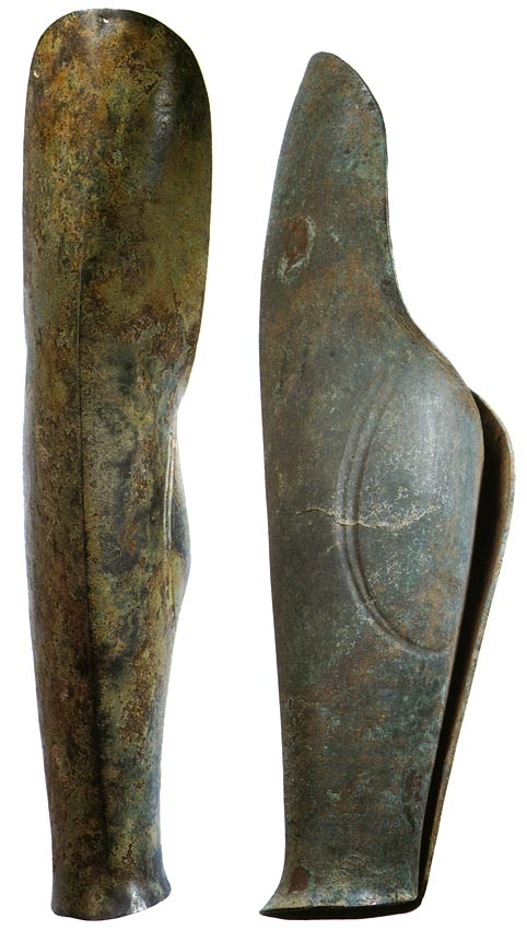 Two greaves. Bronze. Archaic period (ca. 700—480 BCE). Height (lenght): 50.5 and 52 cm. Inv. No. Б. 542. Saint Petersburg, The State Hermitage Museum