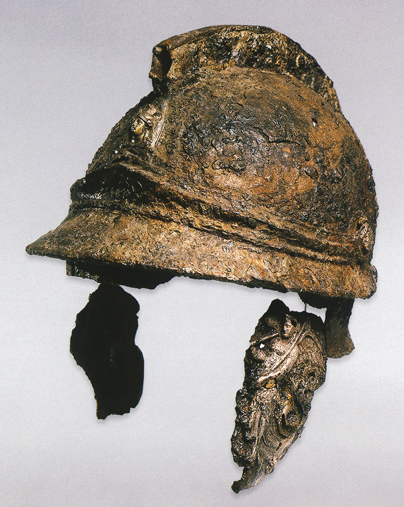 Iron helmet with a silver adornments. Attic type with the visor. Greece. Milos (?). Iron, silver, gold, wood, leather. Middle—second half of the 4th cent. BCE.  Inv. No. П.1834.42. Saint Petersburg, The State Hermitage Museum