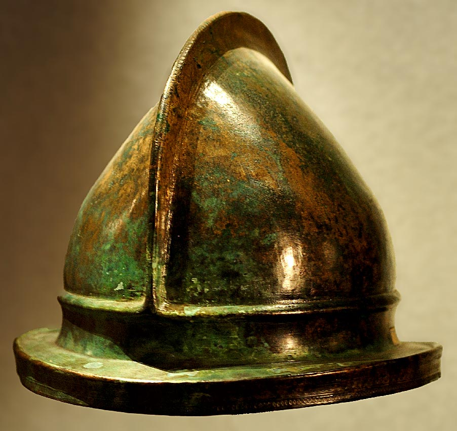 "Bronze helmet, type ""Negau"", from Daone. Front view. 4th—1st centuries BCE. Brescia, Santa Giulia Civic Museum"