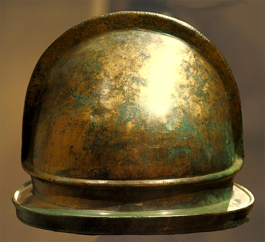 "Bronze helmet, type ""Negau"", from Daone. Lateral view. 4th—1st centuries BCE. Brescia, Santa Giulia Civic Museum"