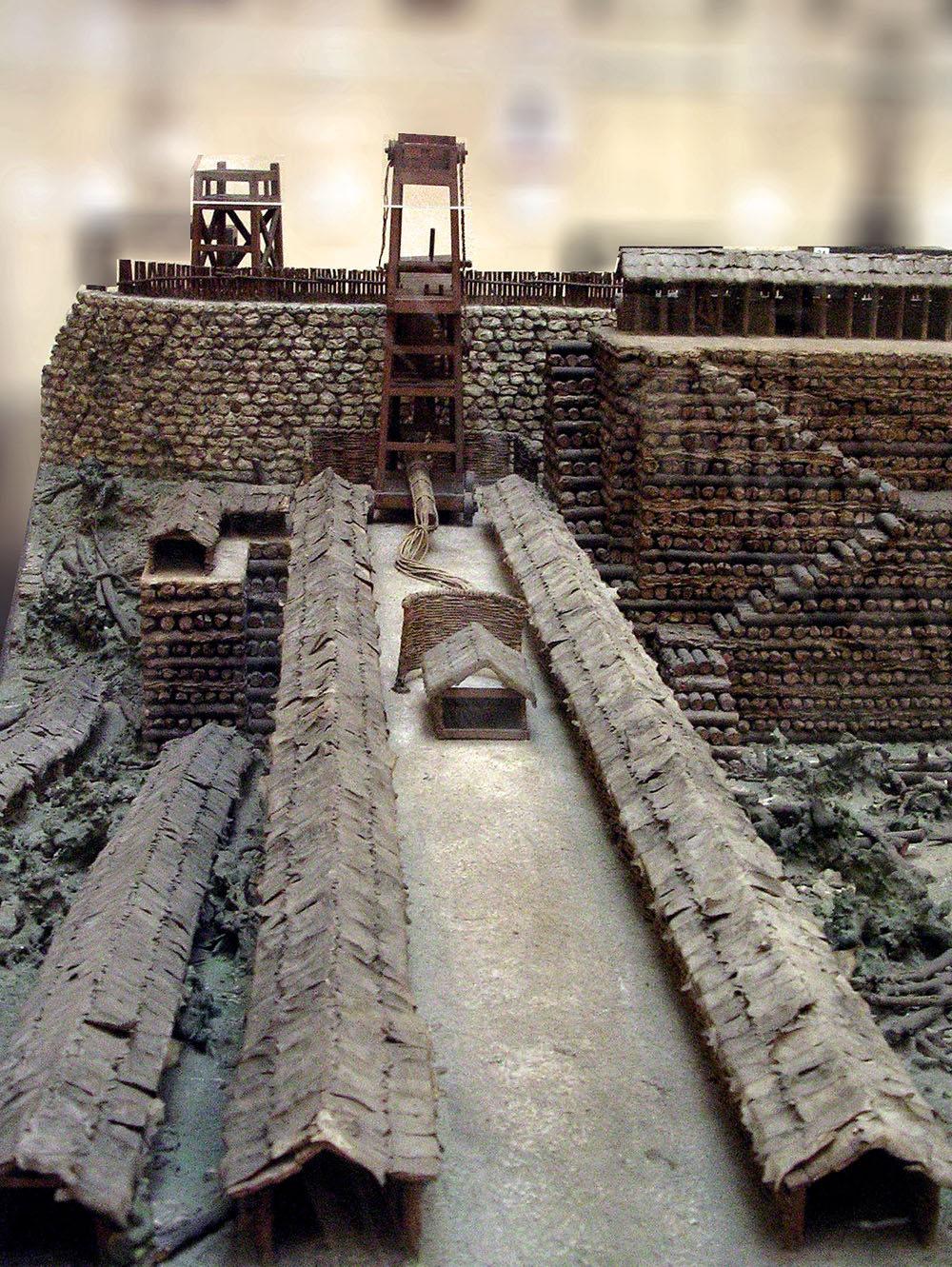 Scale model (1:30) of the works built by Caesar for tha assault on the city of Avaricum (Bourges, France). 52 BCE. Plastic. Inv. No. MCR 213. Rome, Museum of Roman Civilization