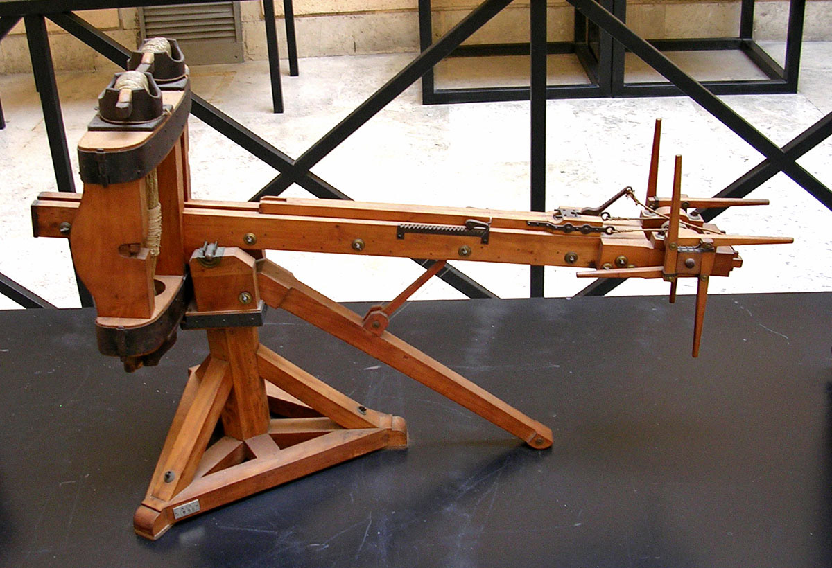 Scale model (1:3) of a ballista, a military engine used to hurl javelins. Inv. No. MCR 896. Rome, Museum of Roman Civilization