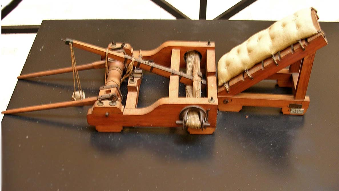 Scale model (1:6) of an onager, a type of catapult used to hurl rocks. Inv. No. MCR 897. Rome, Museum of Roman Civilization