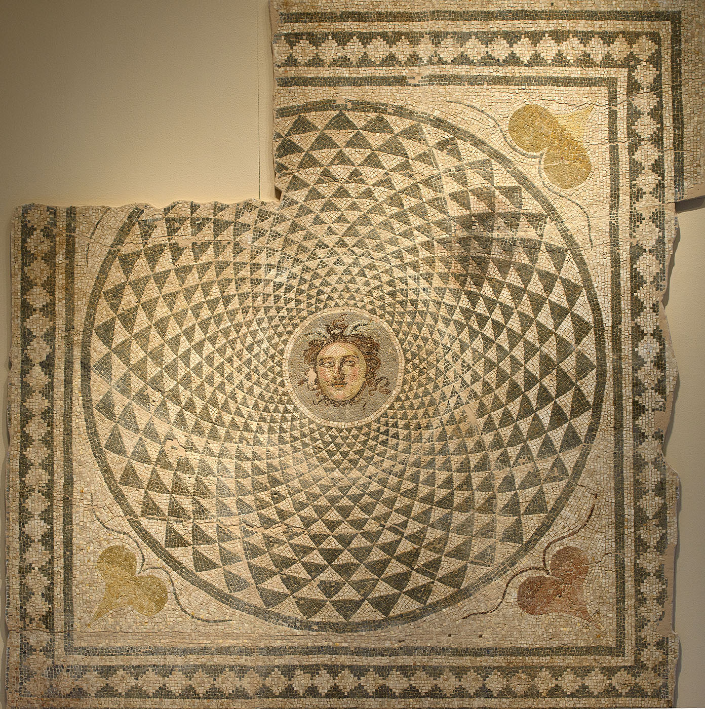 Mosaic floor with Medusa's head. From a room in a large building in Patras. 2nd cent. CE. Patras, New Archaeological Museum