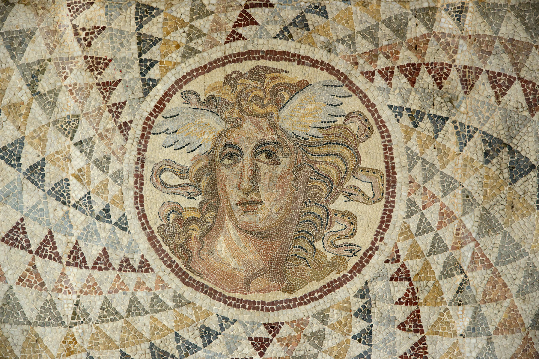 Mosaic floor with Medusa's head. Piraeus. 2nd cent. CE. Athens, National Archaeological Museum