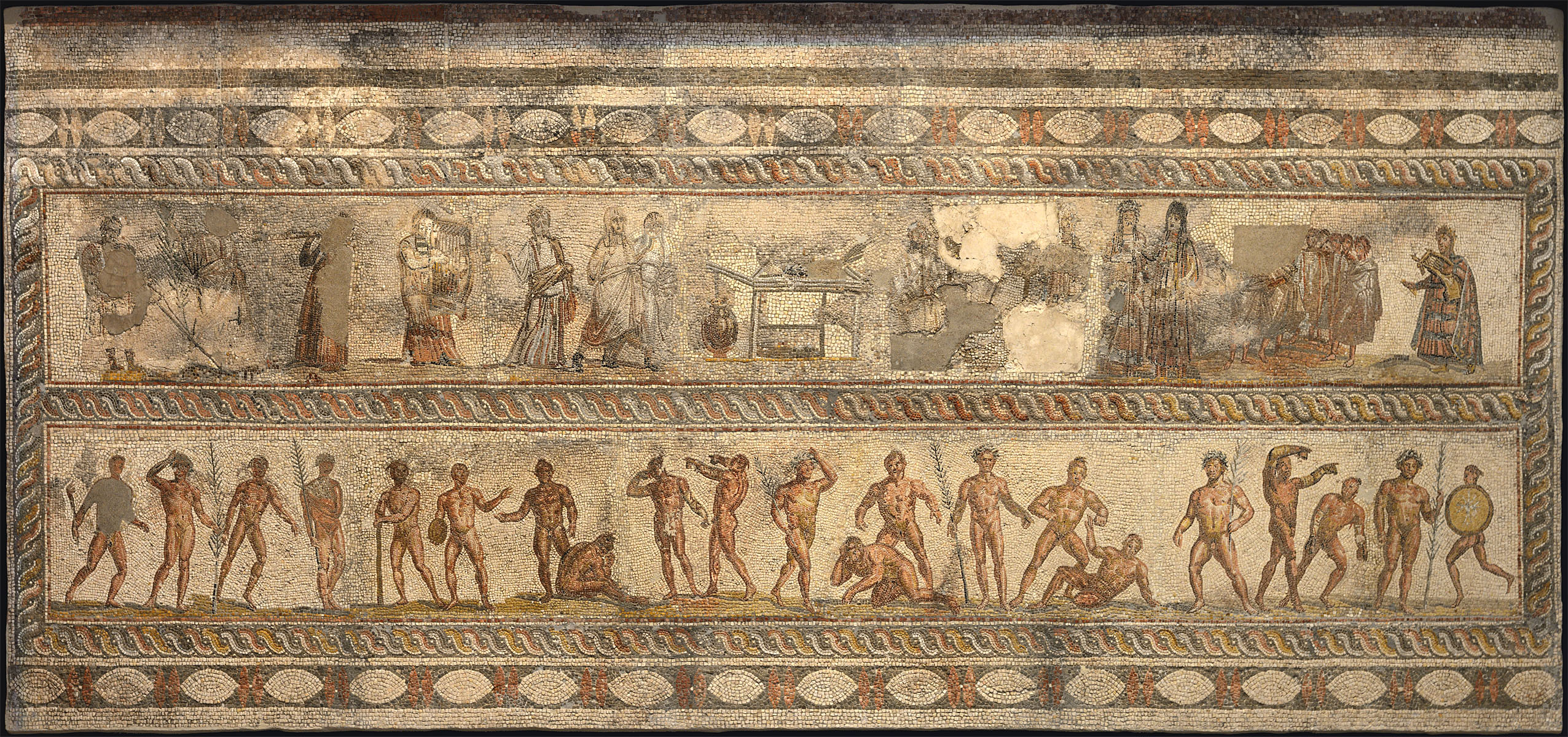 Mosaic floor with artistic and athletic contests. Patras. Late 2nd — early 3rd cent. CE. Patras, New Archaeological Museum