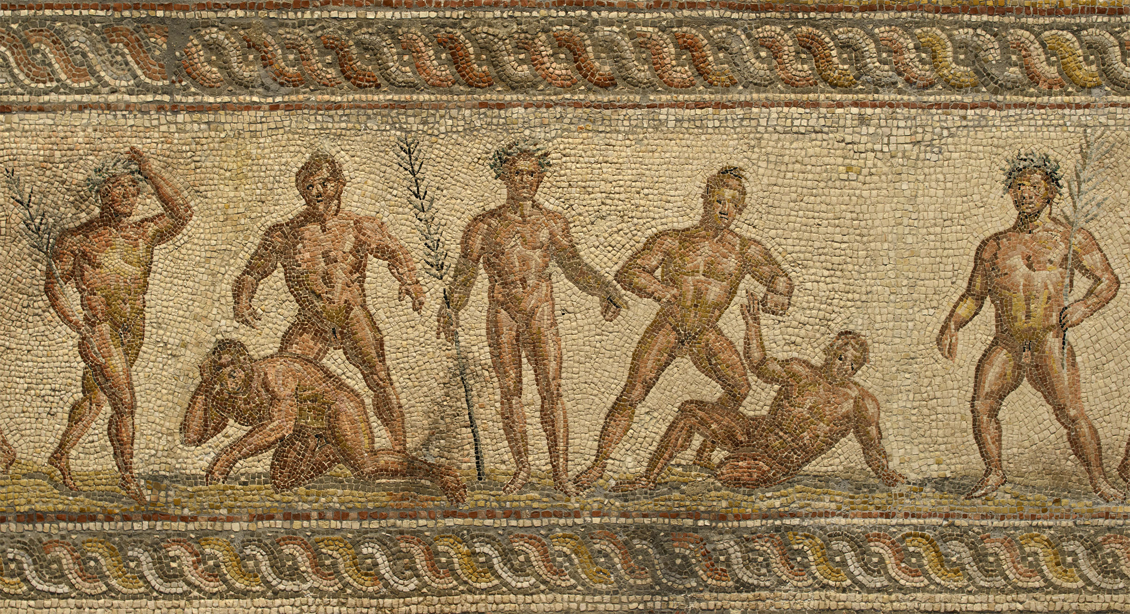 Mosaic floor with artistic and athletic contests (close-up). Patras. Late 2nd — early 3rd cent. CE. Patras, New Archaeological Museum