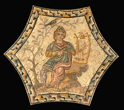 Orpheus, playing a lyre. North Africa, 3rd century. 38 1/8 × 43 3/4 in. (97 × 111 cm.) DPD03. Royal-Athena Galleries