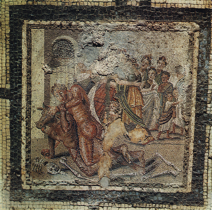 Fight of Theseus with Minotaur. Floor mosaic in the exedra of the House of the Labyrinth in Pompeii. 1st century BCE. Pompeii, House of the Labyrinth