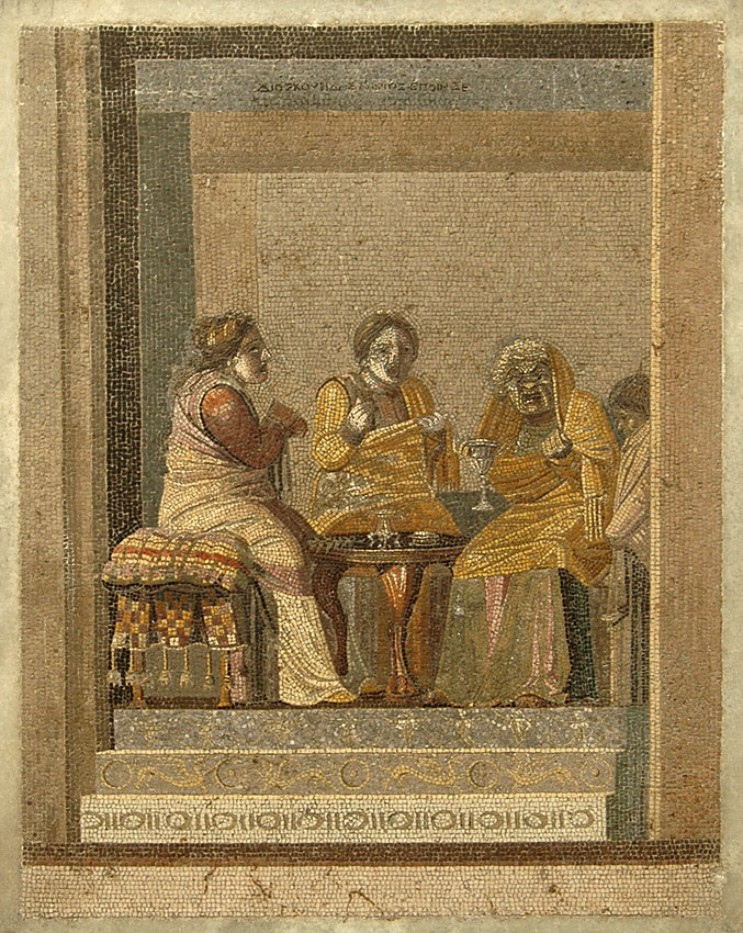 Advice of the sorceress. Mosaic from Pompeii (so-called Villa of Cicero). Signature above: Dioskourides of Samos. 150—125 BCE. Inv. No. 9987. Naples, National Archaeological Museum