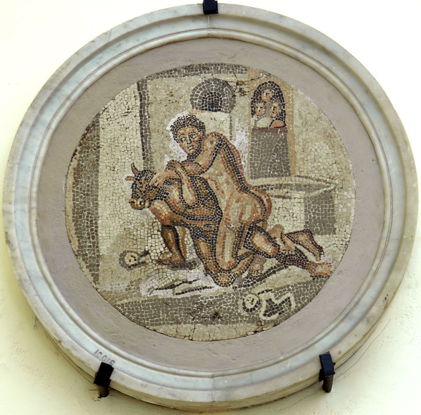 Fight of Theseus with Minotaur. Mosaic from Pompeii. Inv. No. 10016. Naples, National Archaeological Museum