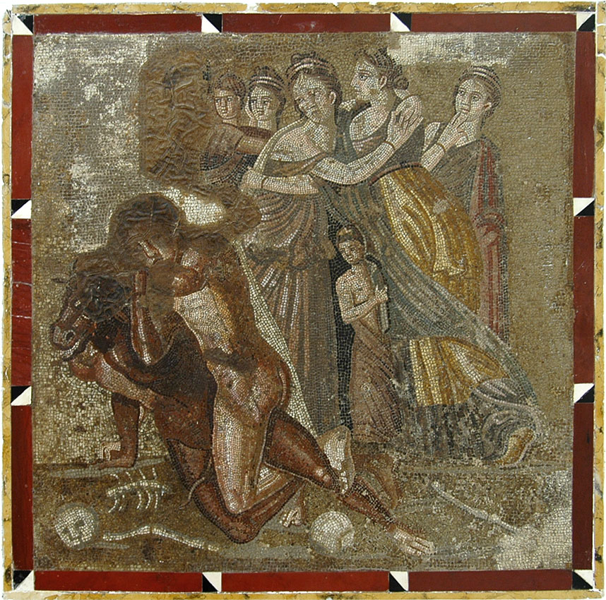 Fight of Theseus with Minotaur. Mosaic from Chieti. Inv. No. 10018. Naples, National Archaeological Museum