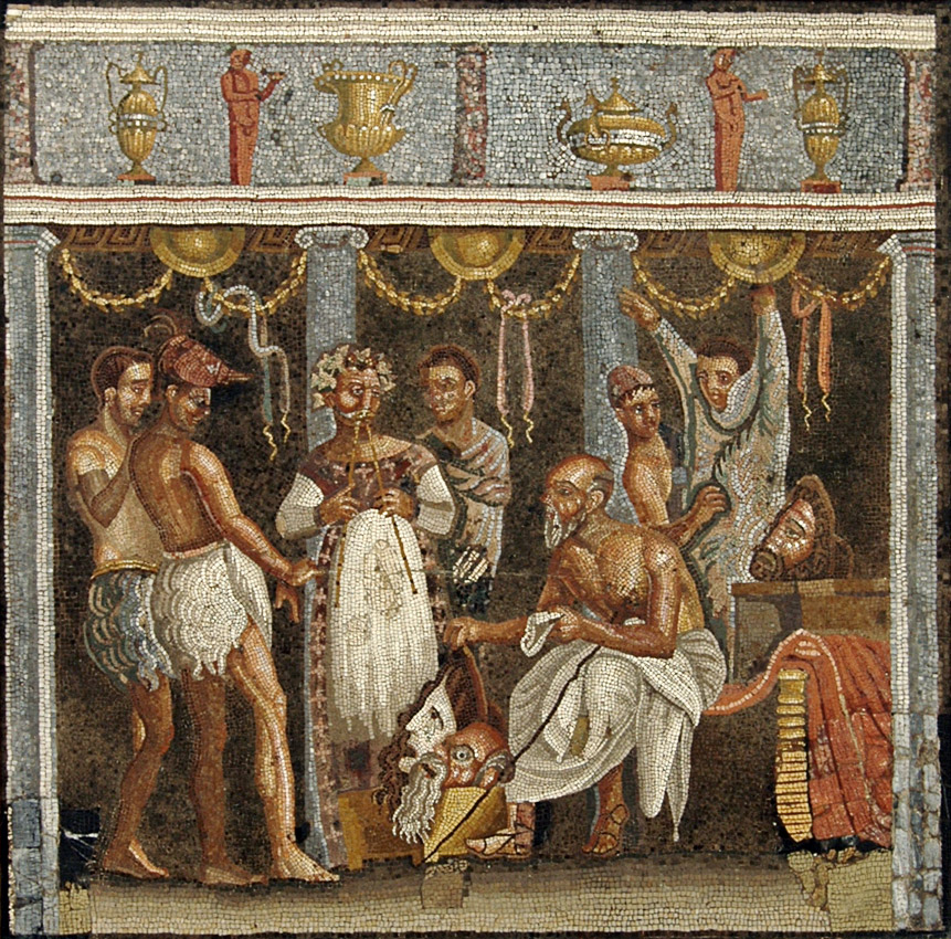 Choirmaster and actors. 69—79 CE. Inv. No. 9986. Naples, National Archaeological Museum