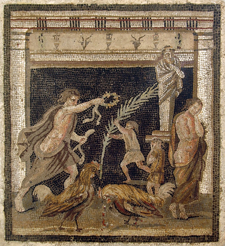 Cock-fight between the personifications of victory and defeat. Mosaic from Pompeii (House of the Labyrinth, VI 11, 10, cubiculum). Inv. No. 9982. Naples, National Archaeological Museum