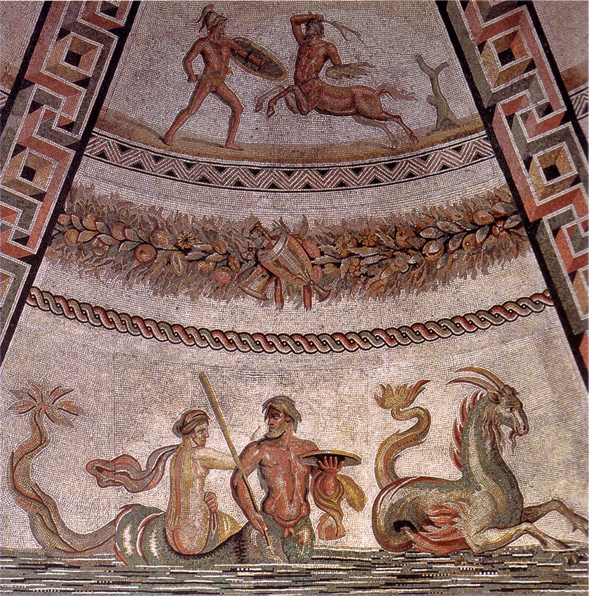 Detail of the floor mosaic. 3rd century CE. Rome, Vatican Museums, Pius-Clementine Museum, Round Room, 2