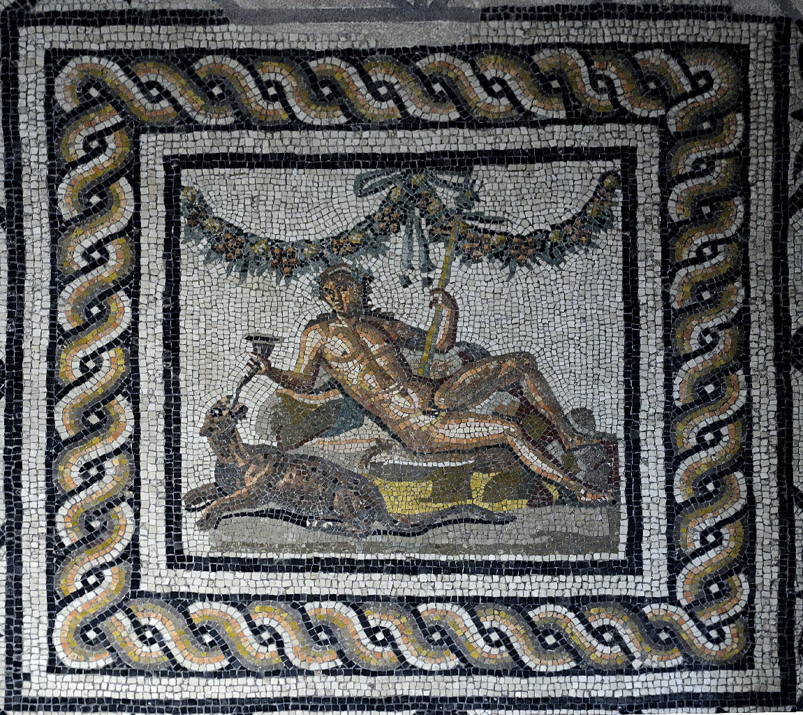Dionysus. Floor mosaic of triclinium in so-called Domus of Dionysus. 2nd century CE. Brescia, Santa Giulia Civic Museum