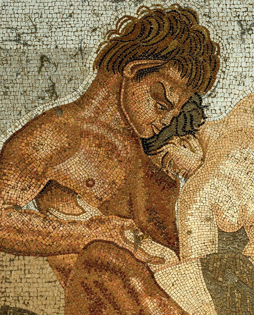 Satyr and nymph (close-up). Mosaic from Pompeii. Last quarter of the 2nd century BCE. Inv. No. 27707. Naples, National Archaeological Museum