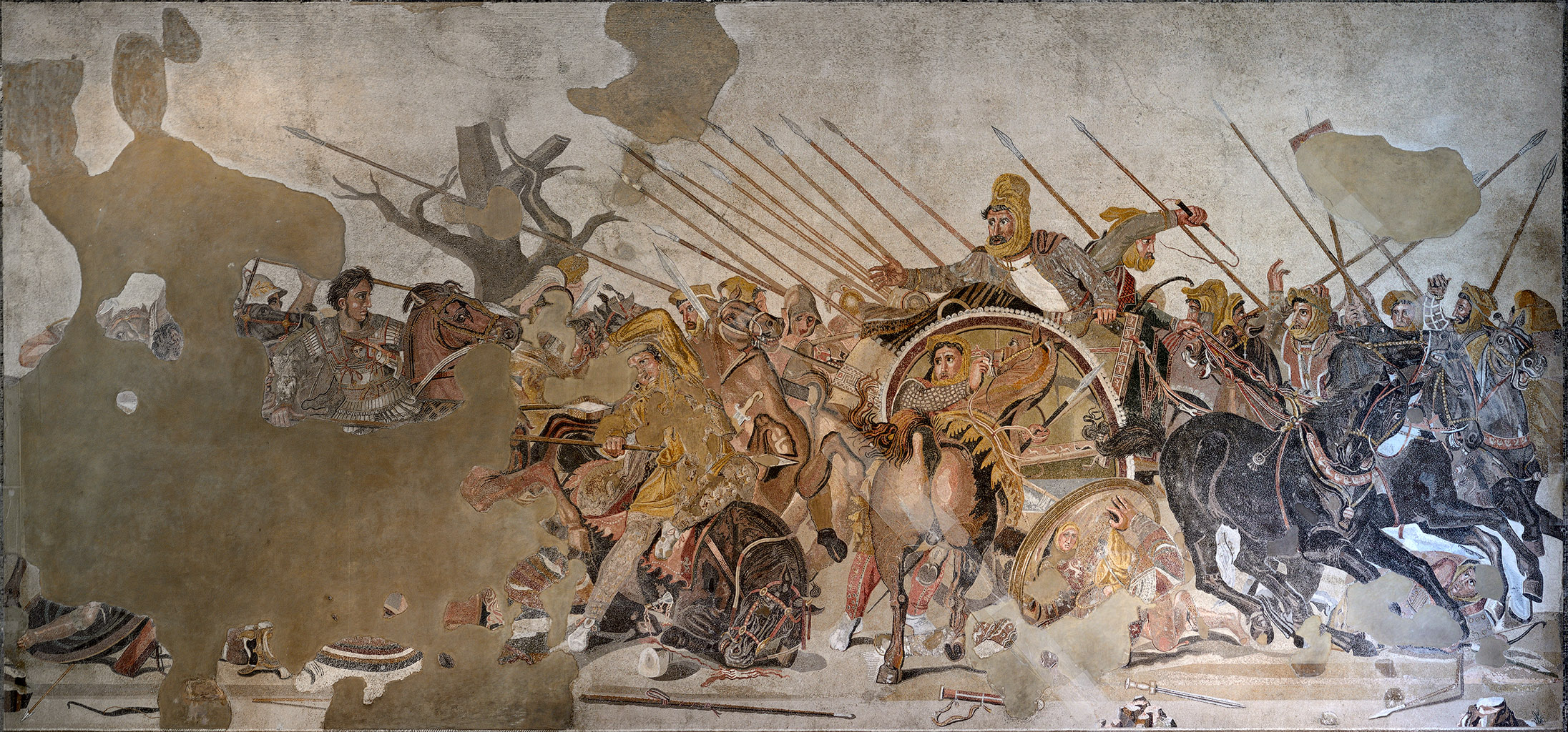Battle of Alexander and Darius. Mosaic from Pompeii (House of the Faun, VI 12, 2, exedra). 125—120 BCE.  Inv. No. 10020. Naples, National Archaeological Museum