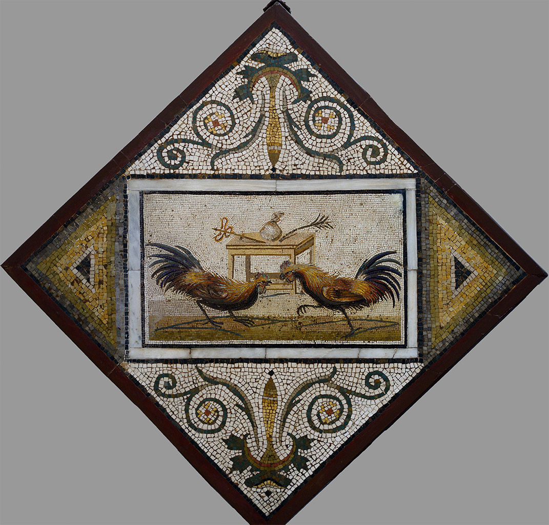 Cockfight. Mosaic from Pompeii.  Naples, National Archaeological Museum