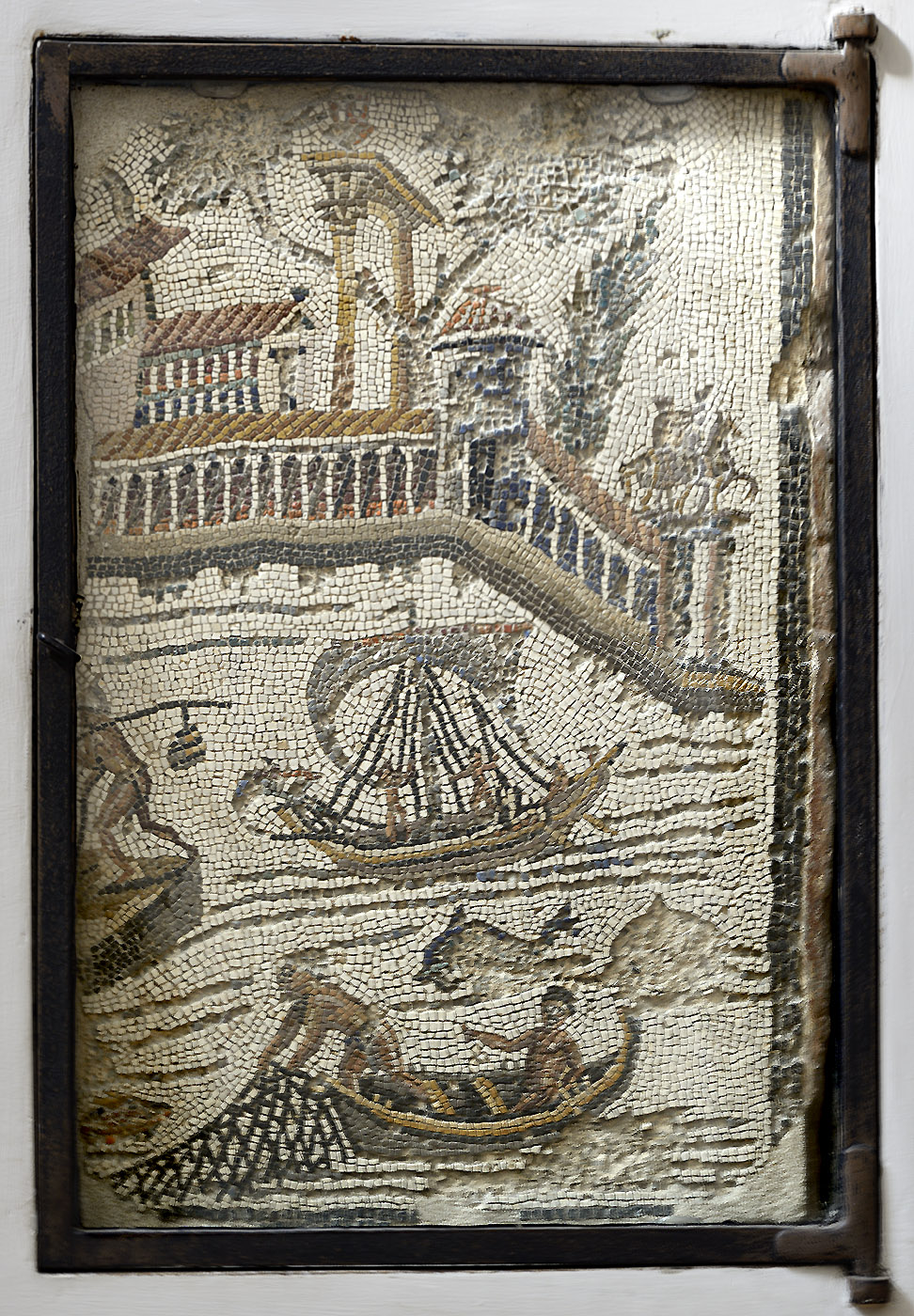 Mosaic panel with a fishing scene. Augustan age. Rome, Church of Santa Maria in Trastevere, sacristy