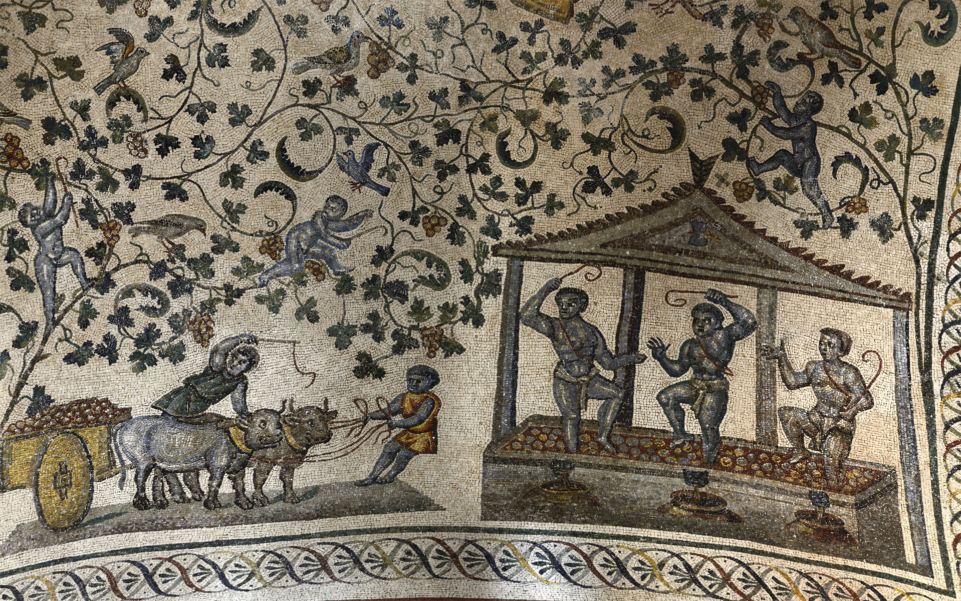 Mosaic decoration of the vault in the circular ambulatory (close-up). Mid-4th century CE. Rome, Mausoleum of Constantina Augusta (Church of S. Constantia)
