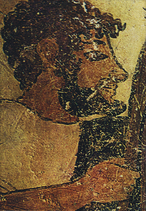 Face of an Etruscan. 6th century BCE. Tarquinia, Tomb of the Augurs